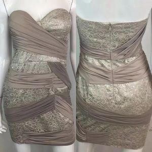 Bebe Taupe Lace Draped Jersey Bodycon Dress